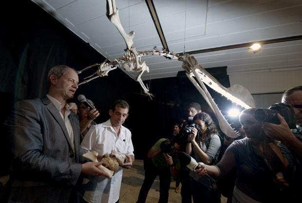O pesquisador Alexander Kellner explica detalhes do fóssil de pterossauro (Foto: AFP)