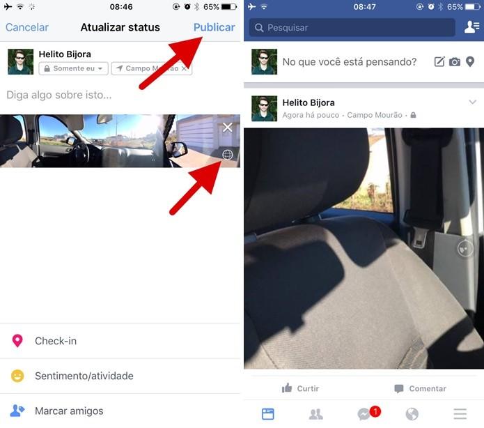 Postando a foto panorâmica no Facebook (Foto: Reprodução/Helito Bijora)