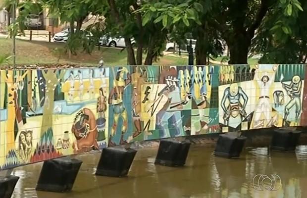 Painel pintado por D.J. Oliveira está exposto no Centro de Luziânia (Foto: Reprodução/TV Anhanguera)