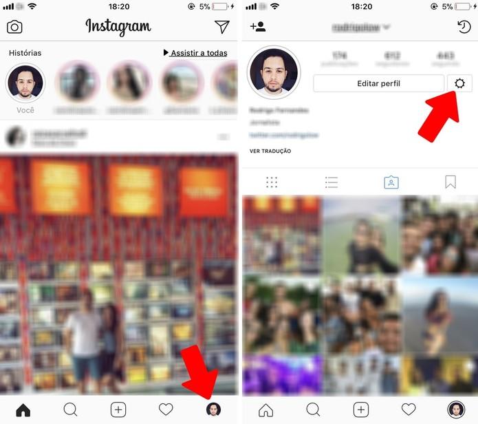 Acesse as configurações do Instagram para ver as fotos que você já curtiu na rede social (Foto: Rodrigo Fernandes)