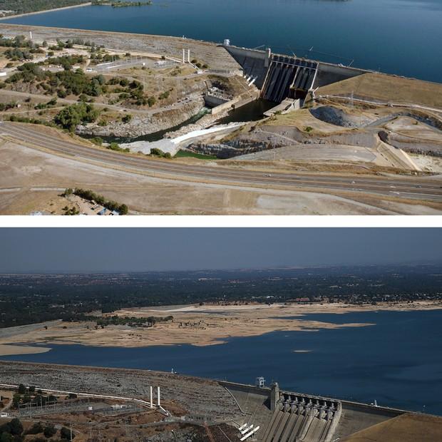 Antes e depois do lago Folsom, que hoje está com 40% de sua capacidade total (Foto: Getty Images)