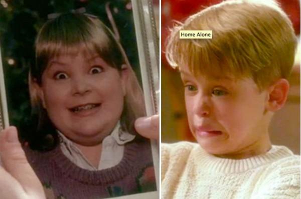 O personagem de Macaulay Culkin assustado com a foto da namorada do irmão em Esqueceram de Mim (Foto: Reprodução)