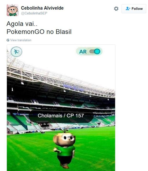 Meme em que Cebolinha dança e fala 'Chola mais' é transformado em monstrinho de 'Pokémon Go' (Foto: Reprodução/Twitter/CebolinhaAlviverde)