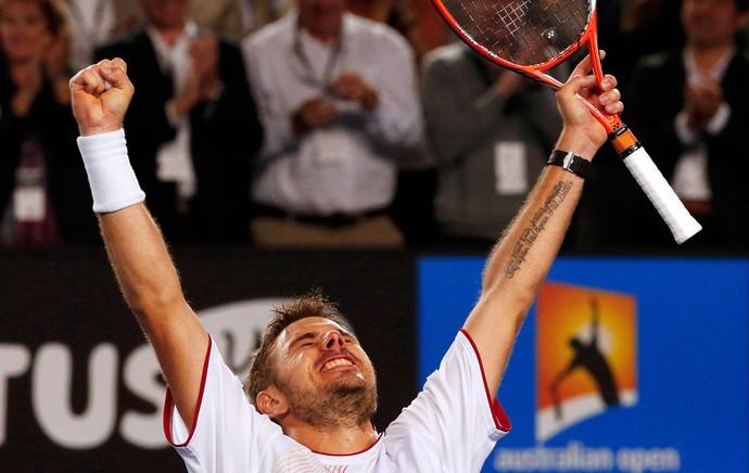 Tênis Austálian Open Stanislas Wawrinka Comemoração (Foto: Reuters)