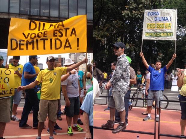 SÃO PAULO: Na Avenida PAulista, manifestantes exibem cartazes pedindo a saída da presidente Dilma Rousseff. (Foto: Gabriela Gonçalves/G1)