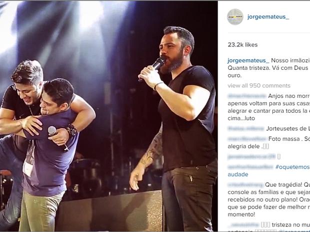 Jorge e Mateus lamentam morte do cantor Crsitiano Araújo Goiás Goiânia (Foto: Reprodução/Instagram)