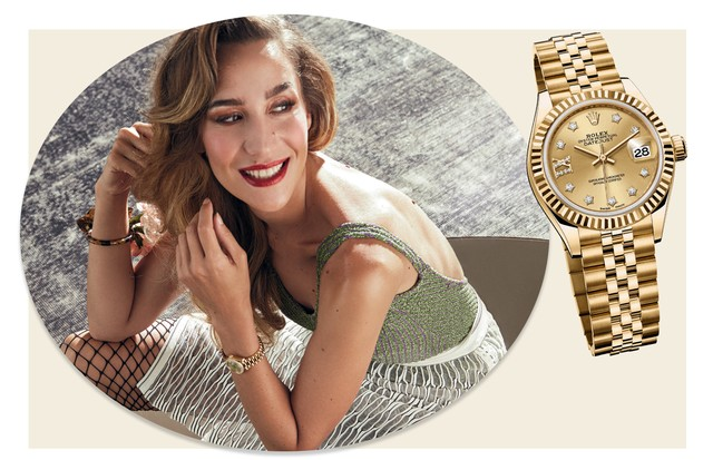 Paola de Orleans e Bragança usa relógio Lady-Datejust 28 da Rolex e body da coleção criada por ela em parceria com a GIG (Foto: Cassia Tabatini, Renato Toso e Divulgação  )