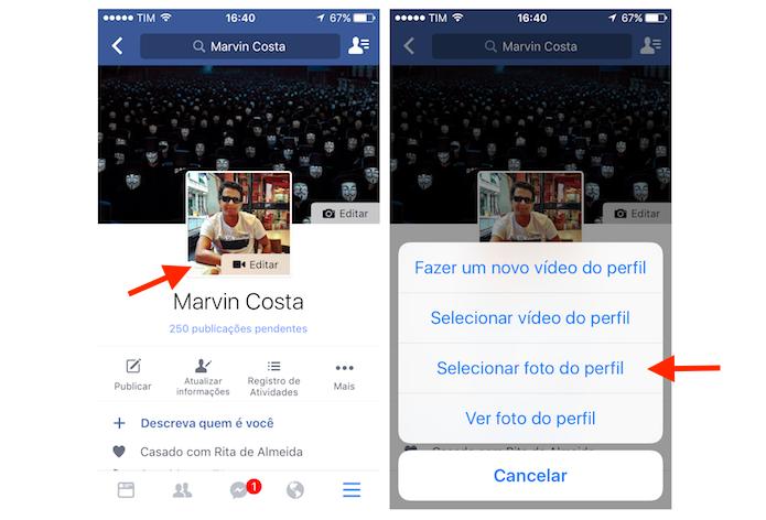 Acessando a ferramenta para mudar a foto de perfil do Facebook pelo iPhone (Foto: Reprodução/Marvin Costa)