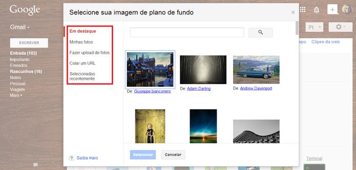 Seleção de temas para o plano de fundo do Gmail (Foto: Reprodução/ Marcela Vaz)