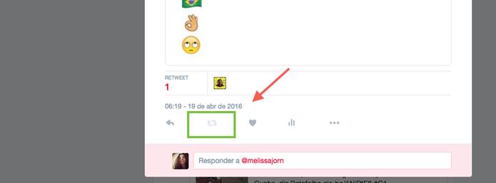 RT no próprio tuíte é uma função desativada, que fica em cinza no Twitter (Foto: Reprodução/Melissa Cruz)