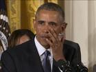 Obama se emociona ao lembrar de vítimas de arma de fogo nos EUA
