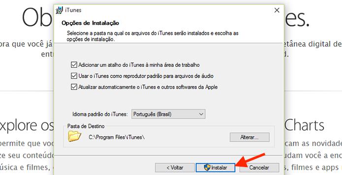Configurando detalhes para instalação do iTunes em um computador com Windows (Foto: Reprodução/Marvin Costa)
