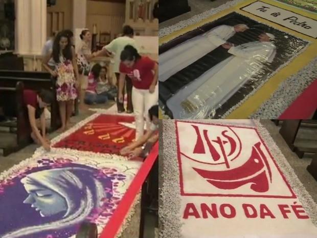 Católicos confeccionam tapete para celebrar Corpo de Cristo (Foto: Reprodução/ Tv Verdes Mares)