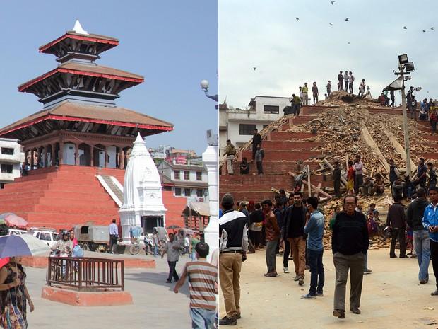 Fotos mostram Praça Durbar antes e depois do terremoto: atração é considerada patrimônio mundial pela Unesco (Foto: Prakash Mathema/AFP/Ganesh Paudel/CC)