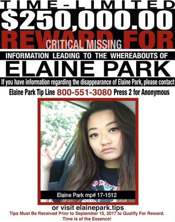 O cartaz pedindo informações sobre a atriz Elaine Park (Foto: Divulgação)