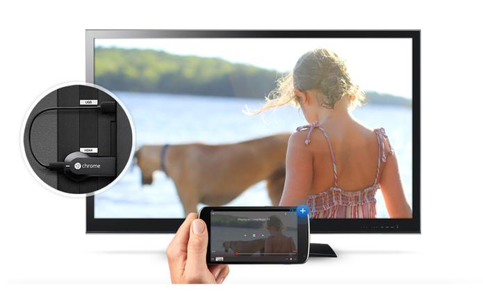 Com o Chromecast e o celular conectados no mesmo Wi-Fi é possível assistir filmes e mais (Foto: Divulgação/Chormecast)