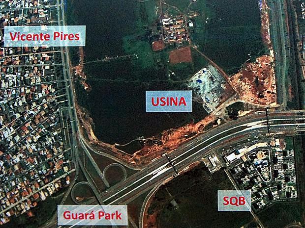 Fábrica de cimento está localizada na margem direita da EPTG, sentido Taguatinga, no Distrito Federal (Foto: Reprodução)