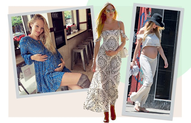 BOHO: Longos boho da grife de LA Jen's Pirate Booty dominaram o guarda-roupa de Candice (Foto: Alo Ceballos, Josiah Kamau, Daniel Zuchnik, Marc Piaseck e Dominique Charriau/ Gettyimages, Splash News, Grosby Group, Akm-gsi e Getty Images)