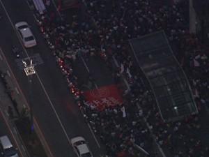 Manifestação na Av. Paulista na tarde desta sexta (14) (Foto: Reprodução/TV Globo)