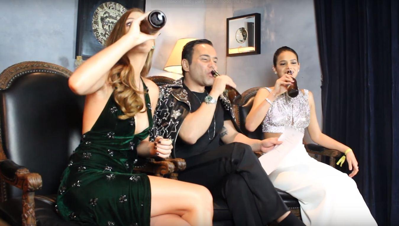 Marina Ruy Barbosa e Bruna Marquezine com Matheus Mazzafera (Foto: Reprodução)