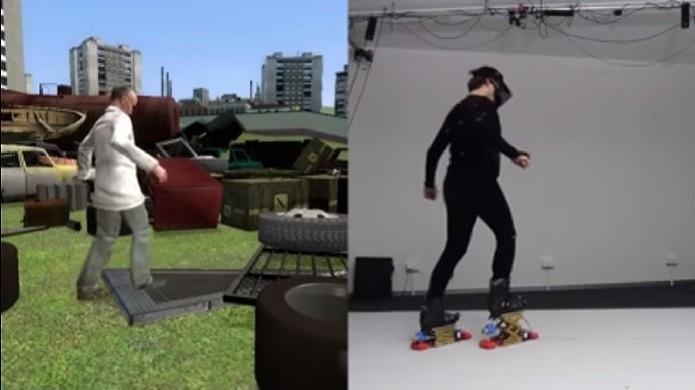 Ao detectar degrau bota mecânica se eleva automaticamente ao levantar os pés (Foto: Reprodução/Youtube)