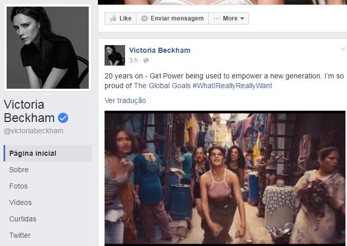 Perfil oficial da ex-spice girl Victoria Beckham (Foto: Divulgação/Facebook)