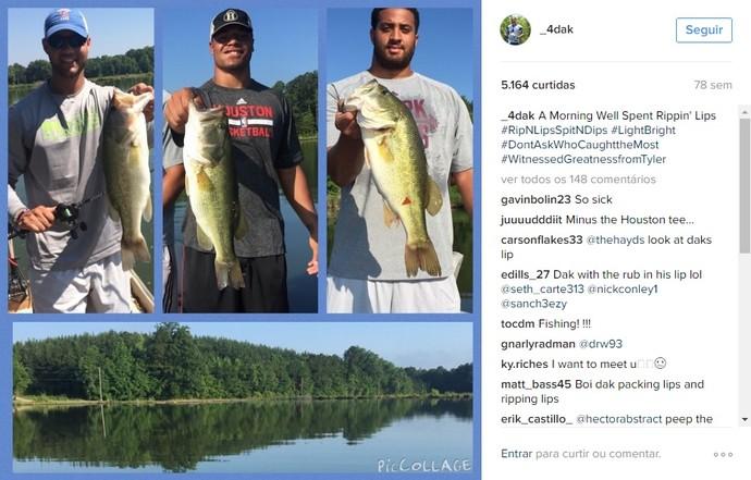 Dak Prescott, quarterback do Dallas Cowboys, gosta de pescar nas horas vagas (Foto: Reprodução/Instagram)