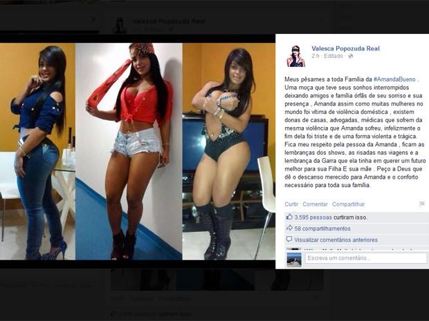 Valesca Popozuda postou mensagem de solidariedade à família de Amanda Bueno (Foto: Reprodução / Facebook)