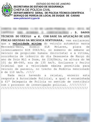 Laudo do caso Thor Batista (Foto: Divulgação/Polícia Civil)