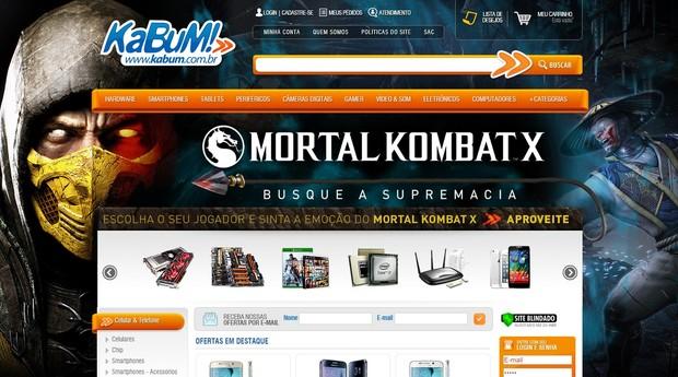 Site da Kabum: um e-commerce especializado em tecnologia (Foto: Reprodução)