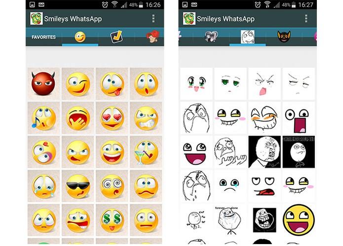 Smileys for WhatsApp tem atalho rápido no mensageiro e variedade de emoticons (Foto: Reprodução/Barbara Mannara)