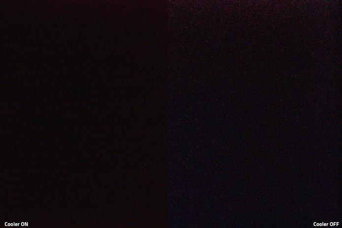 D5500a resfria em fotos de longa exposição reduzindo os ruídos (à esquerda) em comparação o câmeras tradicionais (à direita) (Foto: Divulgação/Primaluce Lab)