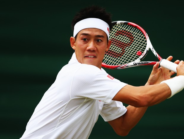 LONDON, ENGLAND - JULY 01:  Kei Nishikori of Japan during his Gentlemen's Singles fourth round match against Milos Raonic of Canada on day eight of the Wimbledon Lawn Tennis Championships at the All England Lawn Tennis and Croquet Club on July 1, 2014 in  (Foto: Getty Images)