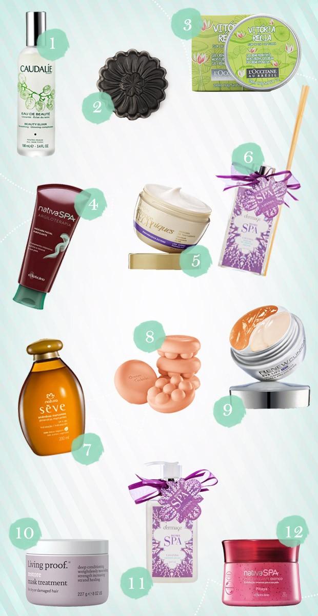 Spa para as mes: 12 produtos para renovar a beleza e o relaxamento  (Foto: Fotos: Divulgao/Arte: Giovanna Souza)