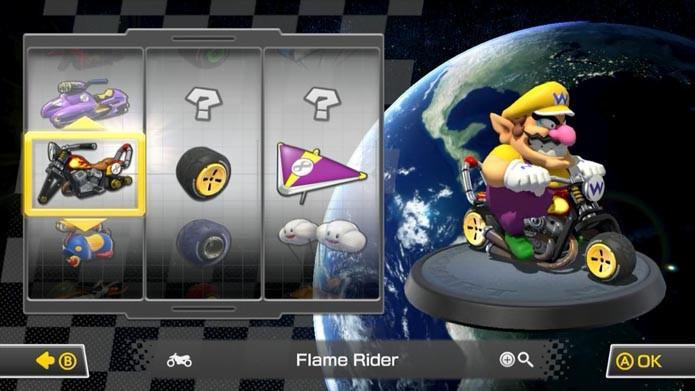 Agora escolha o seu kart e personagem para as partidas (Foto: Reprodução/Murilo Molina)
