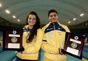 Bruna Primati e Felipe Ribeiro prêmio sul-americano juvenil de natação (Foto: Satiro Sodré / SSPress)