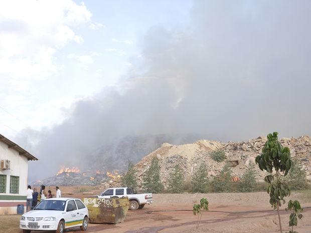 Fogo assustou funcionários e moradores vizinhos de área (Foto: Stephanie Freitas/G1)