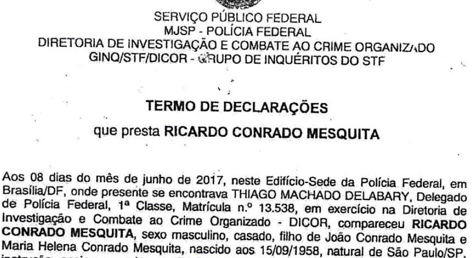 Trecho do depoimento à PF do executivo da Rodrimar Ricardo Mesquita (Foto: Reprodução)