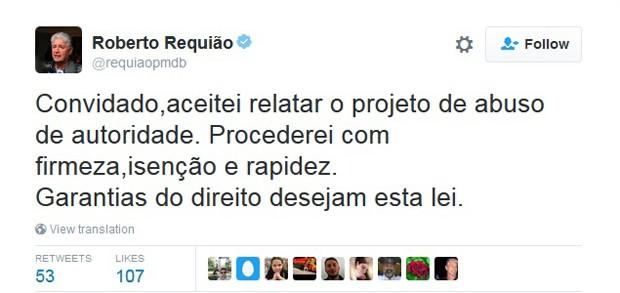 Mnesagem publicada pelo senador Roberto Requião, sobre o projeto que trata do abuso de autoridade (Foto: Reprodução/Twitter)