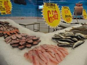 Pescados são mais procurados na Semana Santa (Foto: Marina Fontenele/G1 )