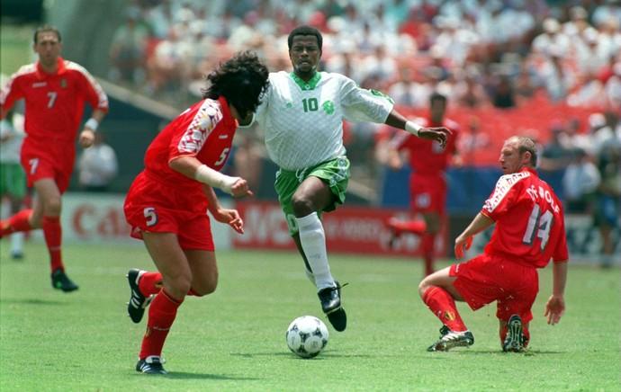 Owairan, da Arábia Saudita, contra a Bélgica - Copa de 1994 (Foto: Getty Images)