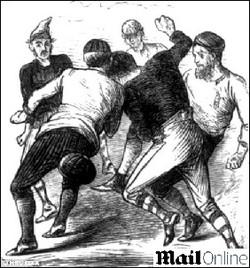 Foto (Foto: Ilustração que representa os primórdios do futebol - Foto: Reprodução de internet)