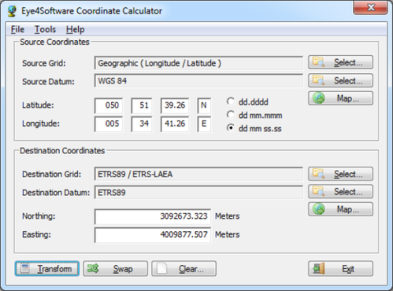 Eye4software coordinate calculator 3.1.11.406