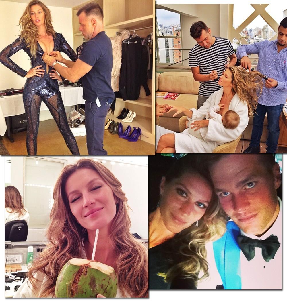 Gisele Bündchen nos bastidores de editoriais, com a inseparável água de coco no camarim e a caminho de noite fashionista com Tom Brady; todos via registros de seu perfil pessoal (Foto: Reprodução/Instagram)