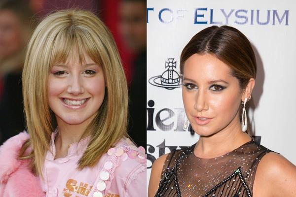 Ashley Tisdale em 2004 e em 2016 (Foto: Getty Images)
