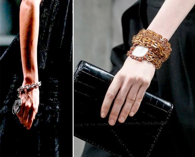 Close nas pulseiras da Givenchy e da Bottega Veneta (Foto: Getty Images)