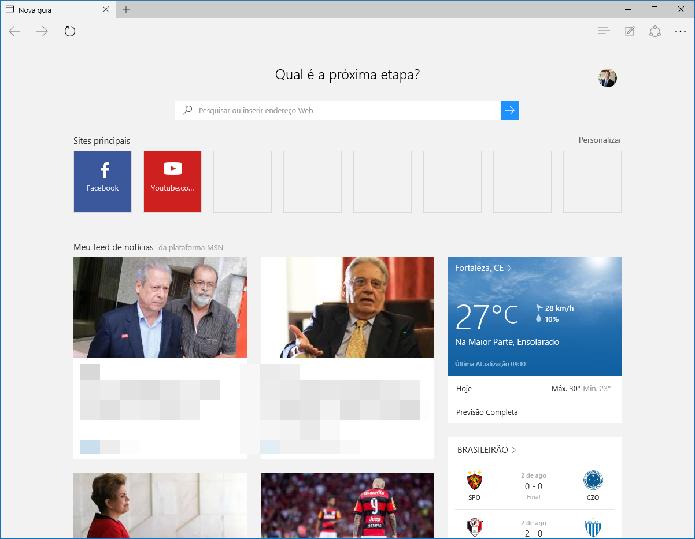 Página inicial do Microsoft Edge (Foto: Reprodução/Felipe Alencar)