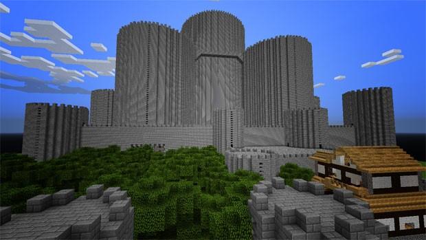 Castelo gigante criado po Cellbit, apelido de RafaeL Lange, em 'Minecraft' (Foto: Arquivo Pessoal)