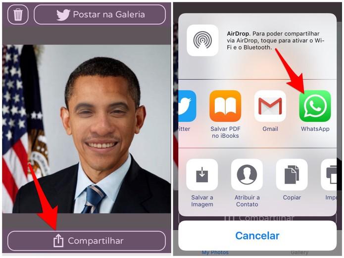 Escolha a opção de compartilhar a foto do Face Swap Live pelo WhatsApp (Foto: Reprodução/Lucas Mendes)