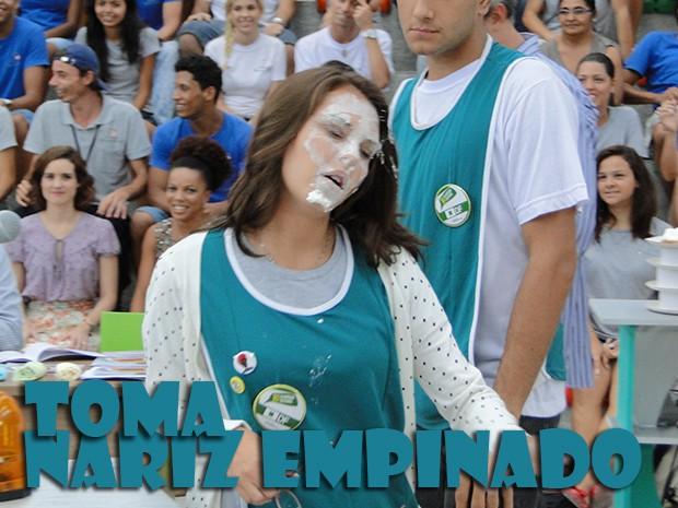 """Luana """"nariz empinado"""" levou muitas tortas (Foto: Malhação / TV Globo)"""